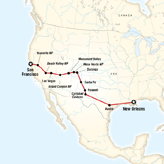 San Francisco to New Orleans Road Trip - £1199